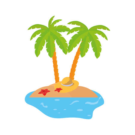 summer coastline scene with palms and straw hat vector illustration design