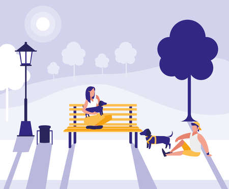 Woman and man design, Park nature outdoor season spring and summer theme Vector illustration Ilustrace