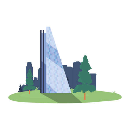 skyscraper building city trees outdoors vector illustration