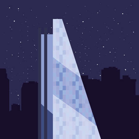 skyscraper urban city night stars background vector illustration Ilustracja