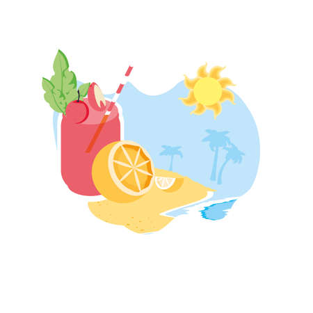 fresh half of orange in the beach with juice vector illustration design Иллюстрация