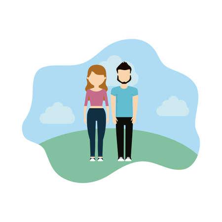 young couple in landscape scene nature vector illustration design