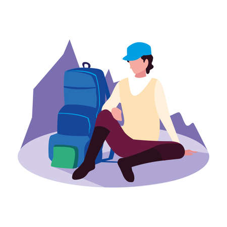 traveler man with backpack vacations vector illustration Stock Illustratie