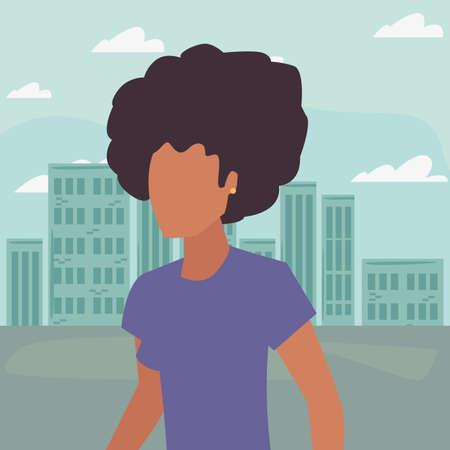 woman avatar character cityscape background vector illustration Ilustrace