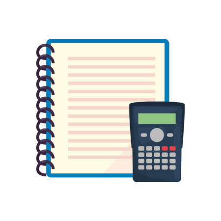 calculator and spiral notebook back to school vector illustration