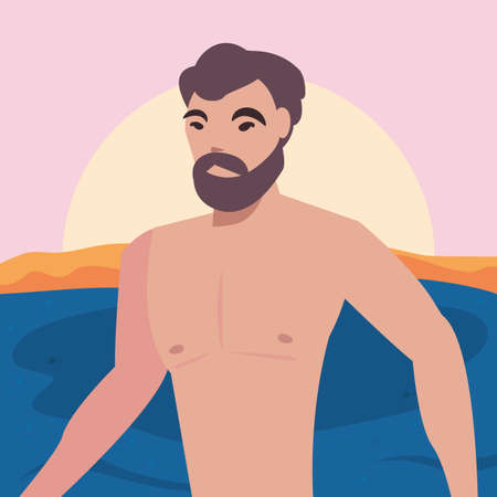 summer time holiday man in the sea beach vector illustration