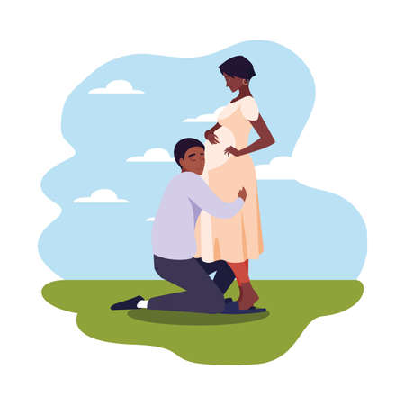 man hugs a pregnant woman outdoors - pregnancy and maternity vector illustration