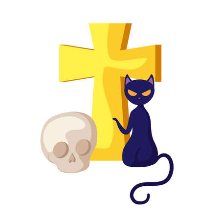 cat feline halloween with cross and skull vector illustration design  イラスト・ベクター素材