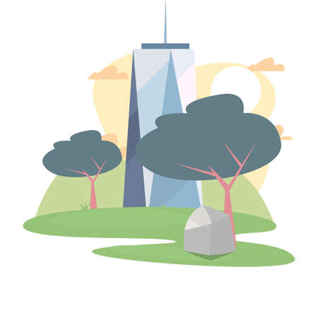 skyscraper building tower trees outdoors vector illustration