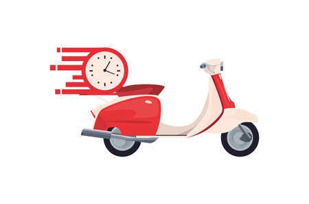 motorcycle clock time fast delivery logistic vector illustration