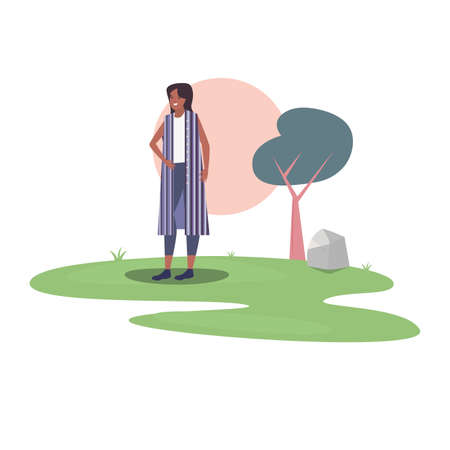 woman with trees sun in the outdoors vector illustration