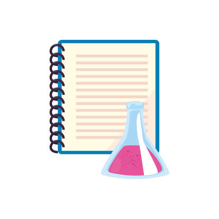 notebook and chemistry flask back to school vector illustration