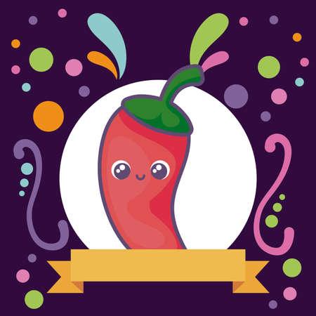 kitchen condiment ,pepper mexican kawaii vector illustration design Ilustração