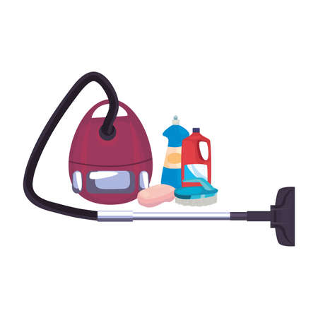 vacuum machine bottles brush soap cleaning products and supplies vector illustration Stock Illustratie