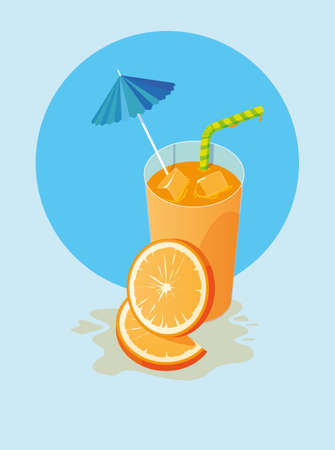 Orange juice design, Drink glass beverage fresh food and healthy theme Vector illustration