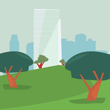 high building city park panorama vector illustration Ilustracja
