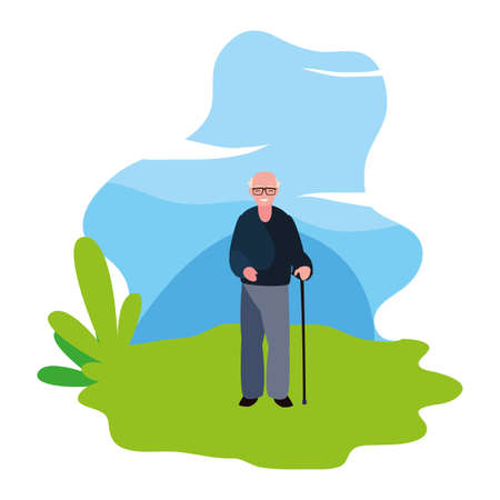 cute grandfather in the outdoors vector illustration