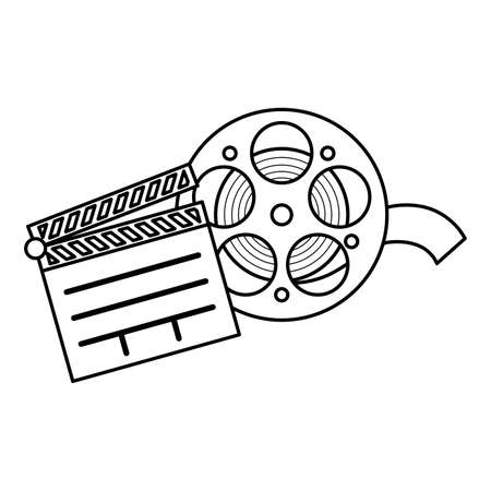 clapboard cinema with tape reel isolated icon vector illustration design