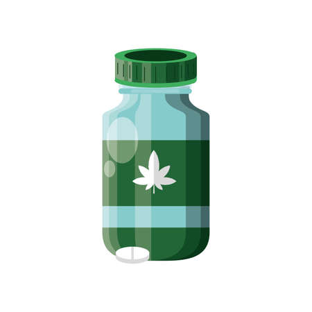 cannabis bottle product with pills vector illustration design Ilustrace