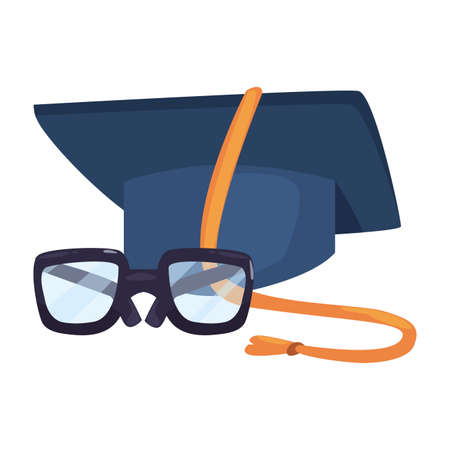 glasses and graduation hat back to school vector illustration