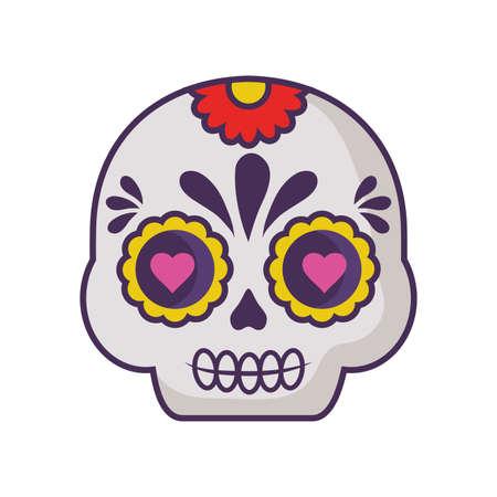 mexican skull in white background vector illustration design Иллюстрация