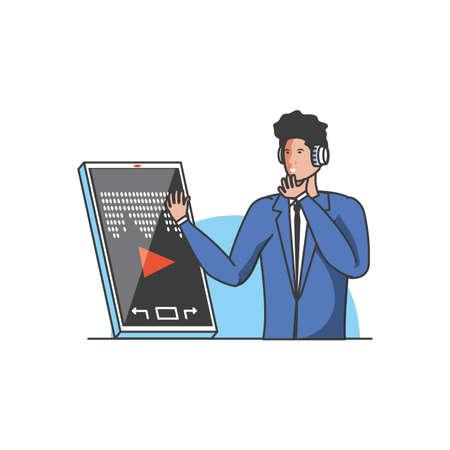 businessman worker with earphones and smartphone vector illustration design