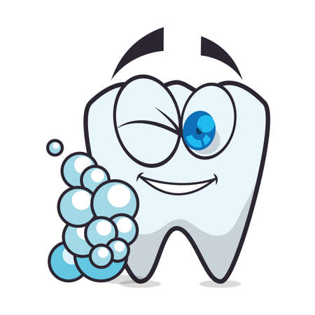 tooth human character with foam vector illustration design