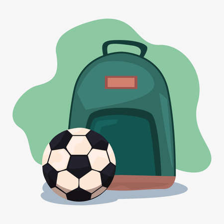 backpack and soccer ball back to school supplies vector illustration Illustration