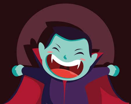 cute boy disguised of vampire vector illustration design