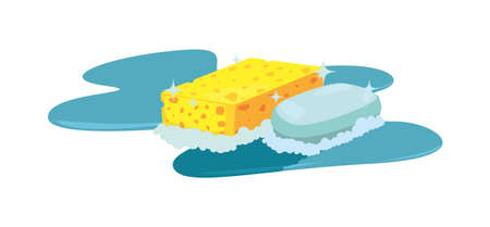 soap sponge bubbles cleaning products and supplies vector illustration