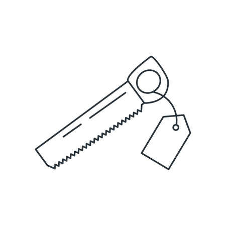 saw tool with price tag hanging vector illustration design