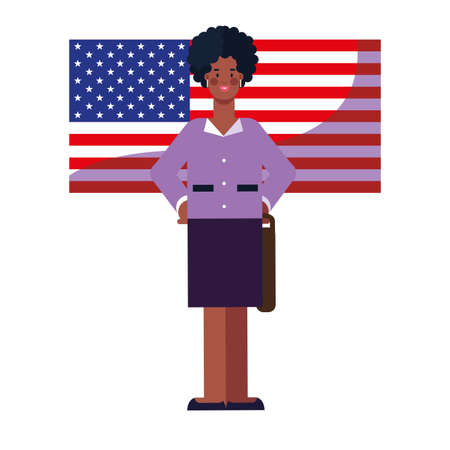 happy labor day - businesswoman american flag vector illustration Ilustrace