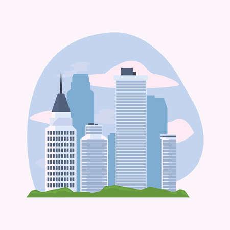 city buildings and skyscrapers urban scene vector illustration