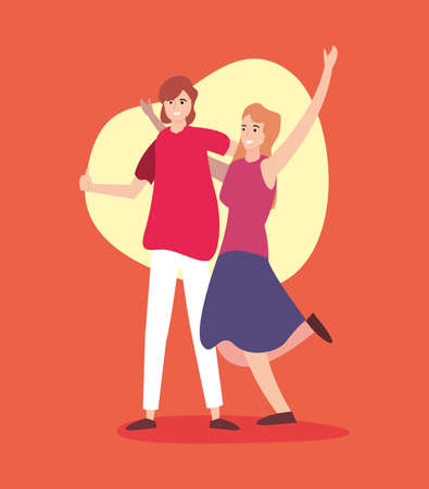 happy young man and woman celebration vector illustration