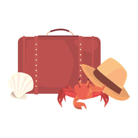 summer time holiday suitcase crab hat shell vector illustration 向量圖像