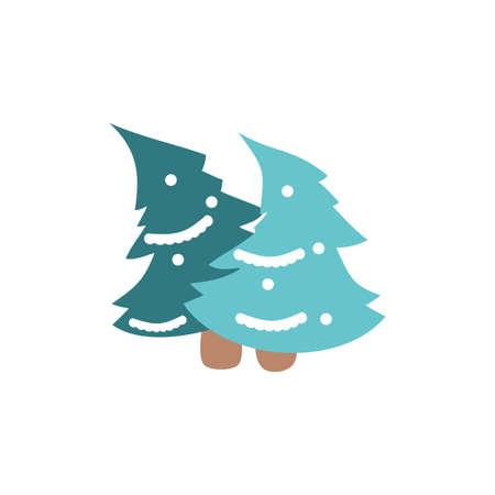 Pine trees design, Merry chritmas winter season decoration card invitation celebration and holiday theme Vector illustration
