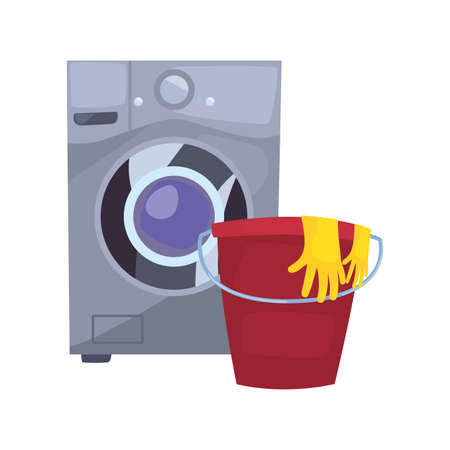 washing machine bucket gloves laundry cleaning products vector illustration