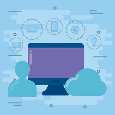 desk computer with social media marketing icons vector illustration design