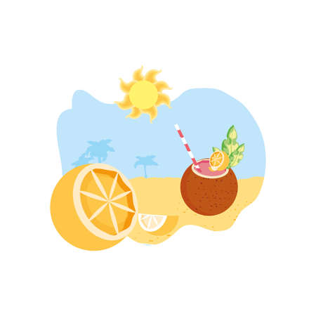 summer cocktail of coconut in the beach with orange vector illustration design