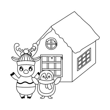 penguin and reindeer with family house of background vector illustration design