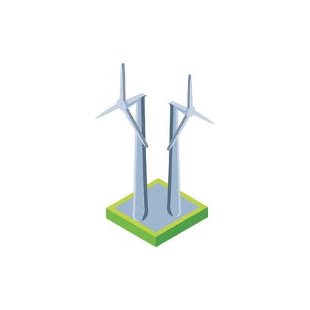 renewable energy turbine on white background vector illustration design