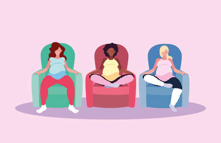 women pregnant seated in sofa avatar character vector illustration design
