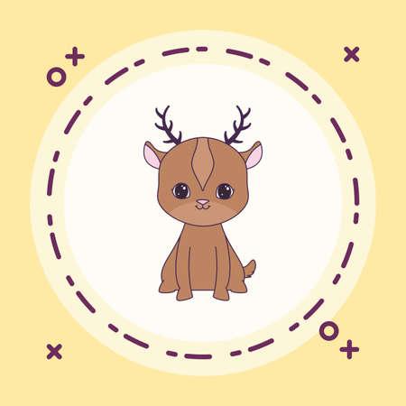 cute reindeer animal in frame circular vector illustration design