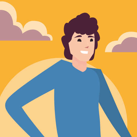 man happy young character outdoor vector illustration