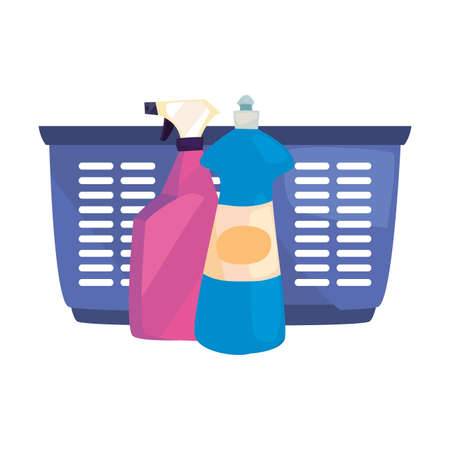 basket bottles spray cleaning products and supplies vector illustration