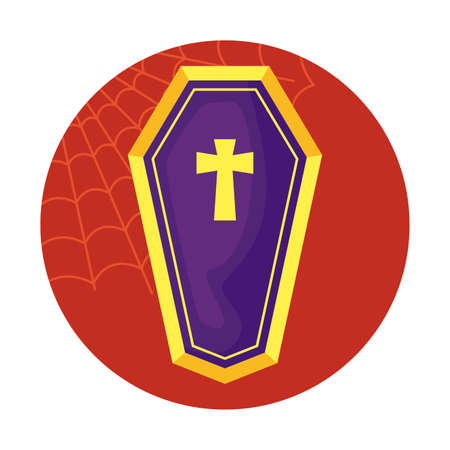 coffin spooky halloween icon vector illustration