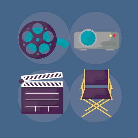 clapboard with set icons cinema vector illustration design Ilustração