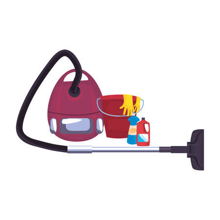 vacuum machine bucket gloves cleaning products and supplies vector illustration