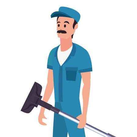 worker cleaning man vacuum machine on white background vector illustration Stock Illustratie