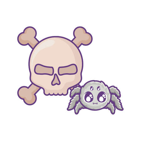 creepy spider animal on white background vector illustration design Vettoriali